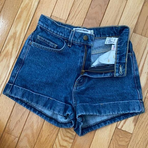 AA high-waisted dark wash denim jean shorts